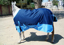 HEAVYWEIGHT 600 DENIER 350G FILL TURNOUT HORSE RUG NAVY/ BABY BLUE WITHOUT NECK