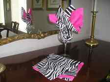 Black & White Cotton Zebra Animal Print Cloth Reversible Napkins by ThemeRunners