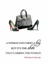 ART PRINT CHRISTIAN LOUBOUTIN Black Shoes, Hermes Bag, Fashion Quote, Wall Art