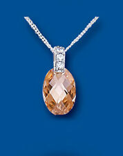 Sterling Silver Champagne & Clear Cubic Zirconia Facetted Oval Pendant *BT4523