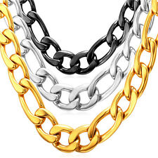 Stainless Steel Men Jewelry 18K Gold Plated Chunky Figaro Chain Necklaces 12MM