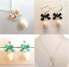 Real Pearl Earrings and Necklace, Cute Bow, Bridesmaids Gift, Genuine Freshwater