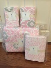 7pc Pottery Barn Kids Claire Ikat Quilt 2 Euro Shams Sheet Set NWT Pink FULL