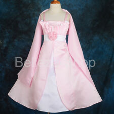 50% OFF Satin Formal Dress + Shawl Wedding Flower Girl Pageant Party 2T-14 #176S