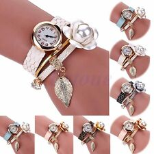 Women Faux Pearl Leopard Wrap Leather Flower Bracelet Dial Quartz Wrist Watch