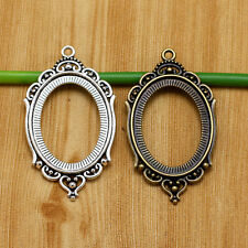 Tibet Silver Bronze Round Oval Picture Photo Frame Macrame Flower Pendant Charms