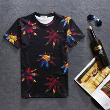 New style Womens Mens colorful maple 3D Printed Short Sleeves Casual Tee T-Shirt