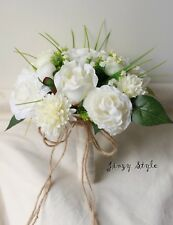 Rustic Style Wedding Bouquet Bridal Artificial Flowers Decor Silk Rose Daisy NEW