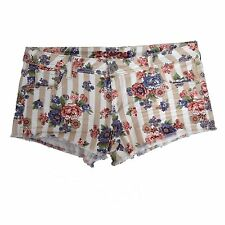 Bongo Womens Juniors Beige Floral Rose Jeans Frayed Cut Off Shorts Low Rise 13