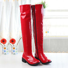 Womens Patent leather Cuban Heel Over Knee High Boots Side Zip Plus Sz Shoes 10