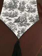 Home Decor Waverly French Country Rustic Toile Black Table Runner - ThemeRunners