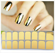 New 16Pcs Shiny Foil Armour Nail Art Stickers Nail Patch Manicure Pure Color