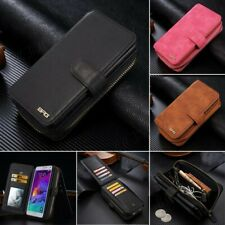 New Genuine Leather Wallet Case Zipper Card Slot Holder Cover for Samsung Galaxy