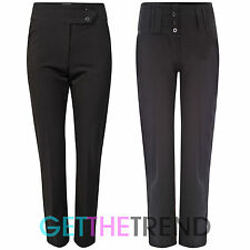 WOMENS GIRLS SMART BLACK WORK OFFICE TROUSERS STRAIGHT LEG HIGH WAIST TROUSER