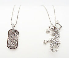 """J BOX 16"""" CLEAR CRYSTAL DOG TAG LIZZARD SILVER PENDANT STATEMENT NECKLACE NEW"""