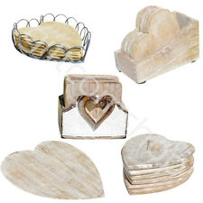 New Heart Coasters With Storage Holder Wooden Hearts Shabby Chic Style Gift