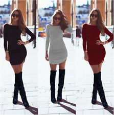 Womens Casual Long Sleeve Crew Neck Bodycon Slim Evening Party Mini Wrap Dress E