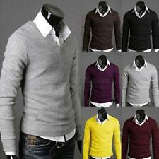 Fashion  Men Slim Fit V-neck Knitted Sweater Casual Cotton Pullover Jumper Tops