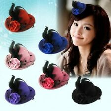 1x Feather Mini Top Hat Fascinator Hair Clip Burlesque Hen Party Costume Fashion