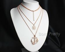 1Pc Multi-layer Anchor Compass Pendant Chain Necklace Sweater Chunky Jewelry