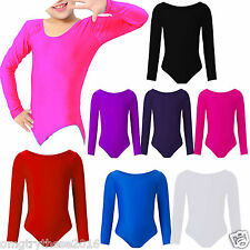 Girls Child Leotard Sleeved Stretchy Dance Gymnastics Ballet Sports Uniform Top