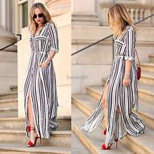 Lady Women Striped Side Slits Maxi Dress Cocktail Sexy Evening Party Beach Dress