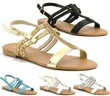 Ladies Gladiator Sandals New Womens Flat Strappy Fancy Summer Beach Shoes Size 3