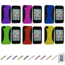 For iPhone 4 4S Hybrid Dual Flex Hard TPU Case Skin Cover+Screen Protector