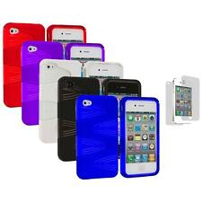 2-Piece Swirl Hybrid Hard TPU Cover Case+3X LCD Protector for iPhone 4S 4G 4