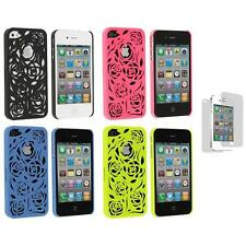 Lovely Carving Rose Flower Hard Case+3X LCD Protector for iPhone 4 4G 4S