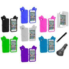 Cat Kitty Color Silicone Soft Case+LCD+Charger+Pen for iPhone 4 4S 4G