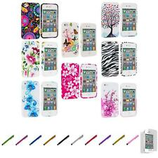 For iPhone 4 4S Color Design TPU Rubber Soft Skin Case Cover+Screen Protector