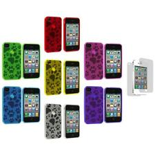 TPU Dog Paw Print Color Rubber Cover Case+3X LCD Protector for iPhone 4S 4G 4