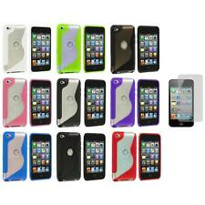 TPU S-Line Deluxe Rubber Case Cover+3X LCD Protector for iPod Touch 4th Gen 4G 4
