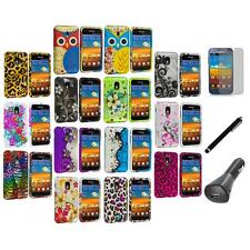 Design Hard Rubberized Cover Case+LCD+Charger+Pen for Samsung Sprint Galaxy S2