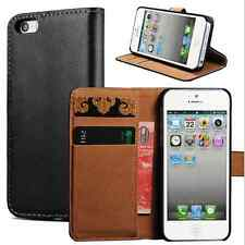 iPhone 5/5S : Genuine Leather Wallet With Stand Case ,Card holder Flip Cover