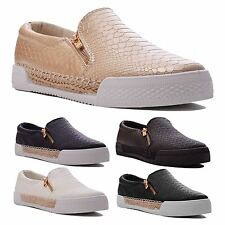 Ladies Slip On Croc Effect Plimsolls Pumps Shoes Loafers Sneakers Trainers Size