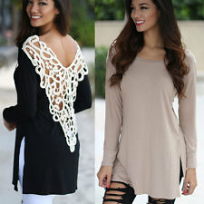 NEW Lace hollow out long SLEEVED DRESS TOP BLOUSE WOMEN'S Fashion Trendy Leisure