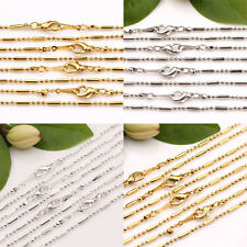 Lots 2/10Pcs Necklace Gold/Silver/White K Beads Chain Clasp Jewelry Making 43cm