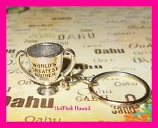 WORLDS GREATEST MOTHER Trophy Silver Award Unique Mom Key Ring Chain Gift USA