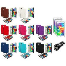 For Samsung Galaxy S5 Leather Wallet Pouch Case Cover + LCD Film+Charger