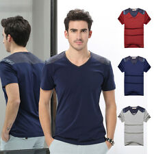 Mens Short Sleeve V-neck Cotton Tee Shirt Casual Basic T-shirt Slim Fit Tops TEE