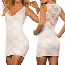 Womens Ladies Summer Casual Evening Sleeveless V Neck Bodycon Lace Short Dress