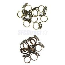 10 Pcs Jewelry Design Adjustable Vintage Brass Blank Filigree Flower Ring Base