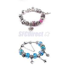 DIY Silver Heart Tower Beads Rhinestone Crystal Women European Bracelet Gift
