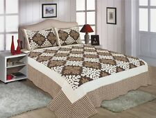 40-All For You 3PC quilt set,  coverlet-reversible-brown patchwork prints-4 Size