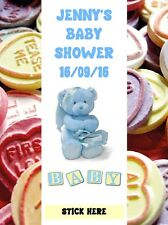 Baby Shower Personalised Love Heart Wrappers - blue Teddy Bear Favours