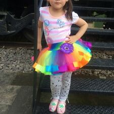Kid Summer Girls Princess Rainbow Tutu Tulle Skirt Ballet Puffy Pettiskirt 0-10Y