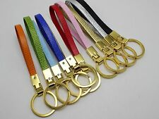 5 Golden Stainless Steel Key Ring with PU leather Band Fit 8mm Slide Charm