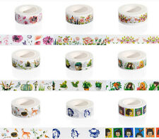 Washi Floral Tape 15mmx 10m Roll Decorative Sticky Paper Masking Tape Adhesive